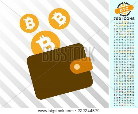 Bitcoin Purse pictograph with 7 hundred bonus bitcoin mining and blockchain design elements. Vector illustration style is flat iconic symbols design for cryptocurrency apps.