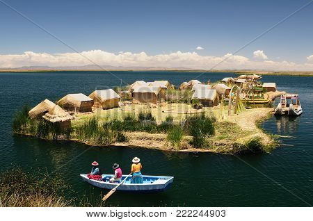 Floating Uros islands on the Titicaca lake, Peru