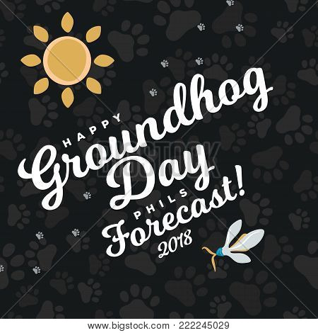 Happy Groundhog Day design with sun and flowers snowdrop, prediction of weather, card or flyer vector illustration.