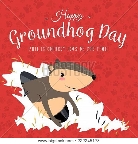 Happy Groundhog Day design with cute marmot stand on green grass, prediction of weather, animal climbed out of ground burrows after wintering, hog gipernation vector illustration.