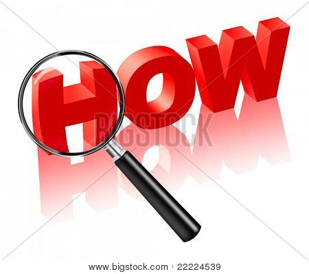 how explanation and search solution. Red text with magnifying glass. Find answers to questions in crime investigation or find cause and reason.