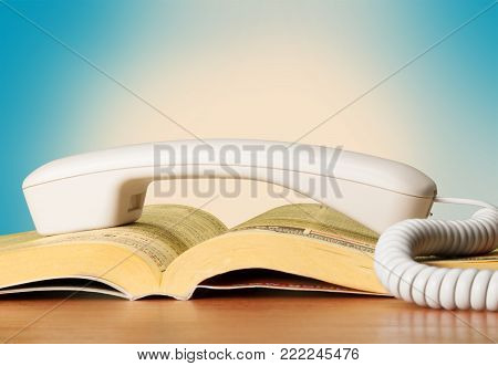 Handle phone book white background color image differential focus colour image