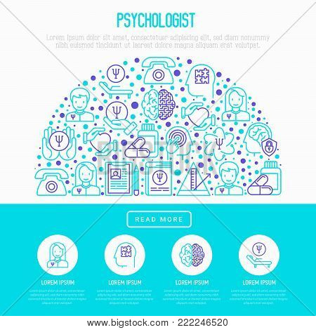 Psychologist concept in half circle with thin line icons: psychiatrist, disease history, armchair, pendulum, antidepressants, psychological support. Vector illustration, web page template.