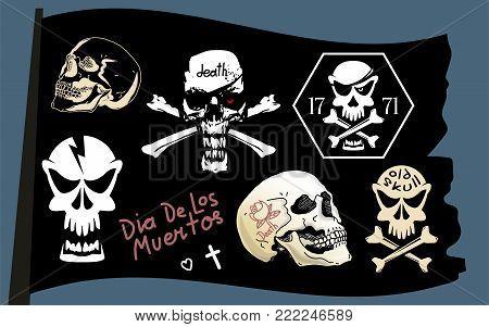 Pirate flag skull set, compatible vector illustration