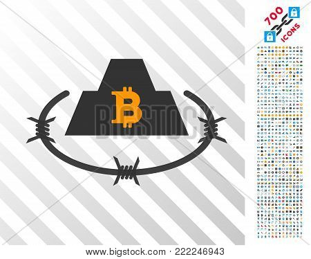 Bitcoin Barbwire Citadel pictograph with 700 bonus bitcoin mining and blockchain pictures. Vector illustration style is flat iconic symbols design for blockchain software.