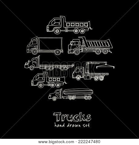 Hand drawn doodle truck set. Vector illustration. Isolated elements on chalkboard background. Symbol collection.