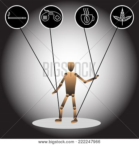 The image of a puppet and icons, symbolizing dependencies. Vector illustration.