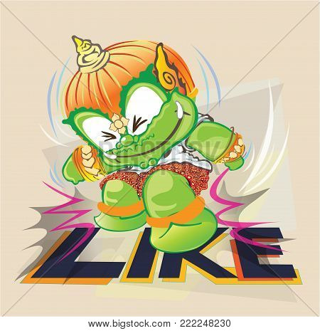 Trampling Like by Thai giant funny comic vector cartoon character design cute.
