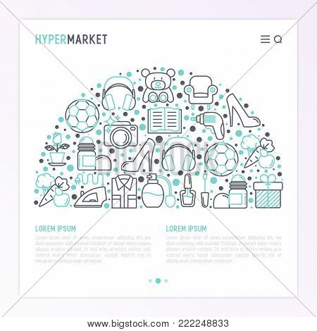 Hypermarket concept in half circle with thin line icons: apparel, sport equipment, electronics, perfumery, cosmetics, toys, food, appliances. Modern vector illustration for web page template.