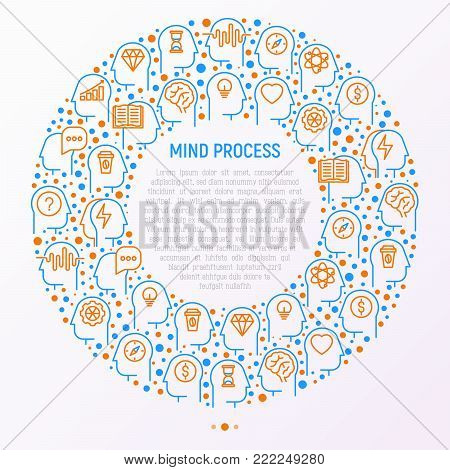 Mind process concept in circle with thin line icons: intelligence, passion, conflict, innovation, time management, exploration, education, logical thinking. Modern vector illustration.