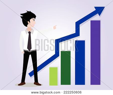 Business man characters.business concept growth, effort and going beyond,Vector illustration.Cartoon style.