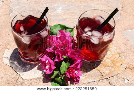 Two glasses of summer red cocktail with ice and a sprig of Bougainvillea flowers between on the natural stone background, summer holidays concept. Horizontal. Daylight. Close-up. View from above.