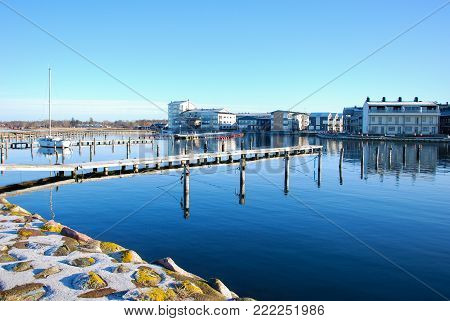 Peaceful small boat harbor by Farjestaden at the swedish island Oland in the Baltic Sea