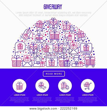 GIveaway or gifts concept in half circle with thin line icons set: present in hand, trolley, cart, truck, envelope. Modern vector illustration, web page template.