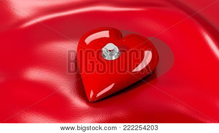 Valentine's Day image with a single red heart on a red satin sheet. The heart has a