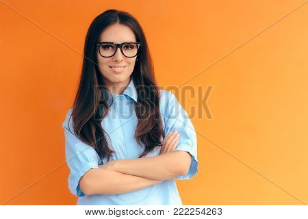 Smart Casual Office Look Woman Wearing Eyeglasses and Blue Shirt