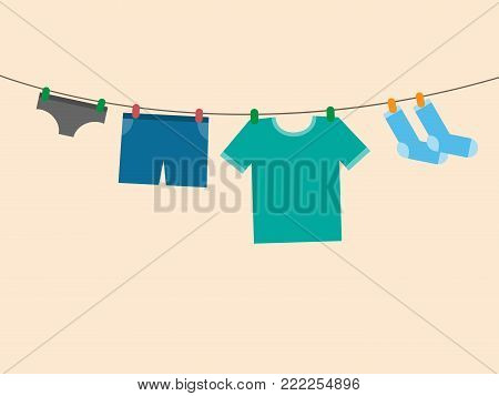 vector illustration of clothes on clothes line