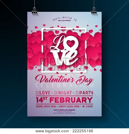 Vector Valentines Day Party Flyer Design with Love Typography Letter and Heart on Clean Background. Celebration Poster Template for Invitation or Greeting Card