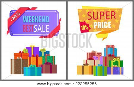 Weekend best sale special exclusive offer super price sale posters with piles of gift boxes wrapped in decorative color paper vector illustration