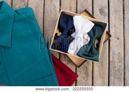 Luxury silk white, blue and green bow-tie in box accessory for men dress