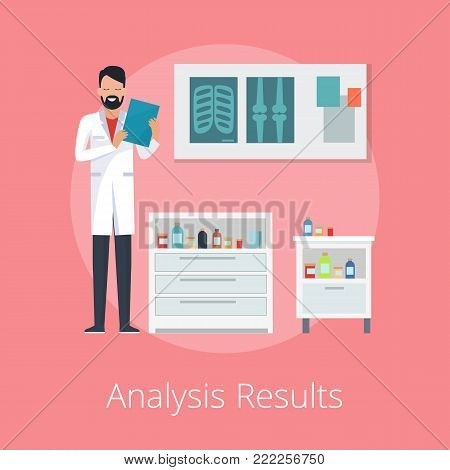 Analysis results poster with doctor holding papers in hospital cabinet with lockers filled with medicaments. Vector illustration on pink background