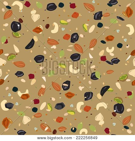 Seamless pattern with dried fruits, nuts, oatmeal, and seeds. Healthy and eco food, granola background. Vector illustartion