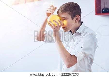 Let me see what happens next. Serious young up and coming chemist holding a round bottomed flask with a narrow neck and focusing his attention on a yellow liquid while doing a research at school.