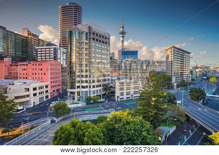 Auckland. Aerial cityscape image of Auckland skyline, New Zealand during summer day.