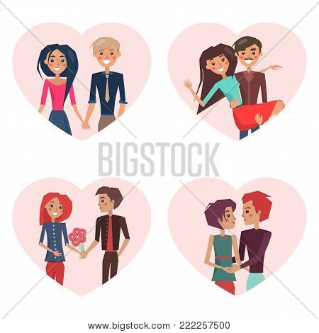Couples in love, images in frames of heart shape, people holding hands, man carrying woman, boyfriend giving flowers to girlfriend vector illustration