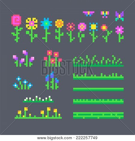 Pixel set of different flowers and grass for your design.