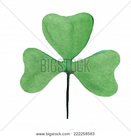 Wet Watercolor Four leaf clover. Abstract St. Patrick  watercolour hand painted holiday symbol