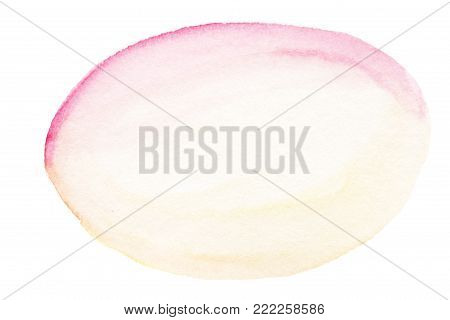 Coral watercolor background for your design. Soft pink and yellow water-colour stain painting on paper, oval shape