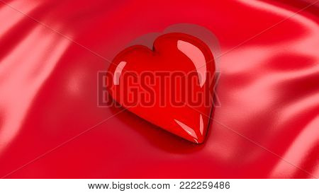 An image of a 3D Valentine's Day heart on a red satin sheet.