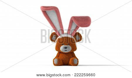 Easter Bear with Bunny Ears on White Background