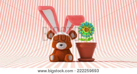 Easter Bear with bunny ears on and sitting next to a potted psychedelic on a pink striped background.