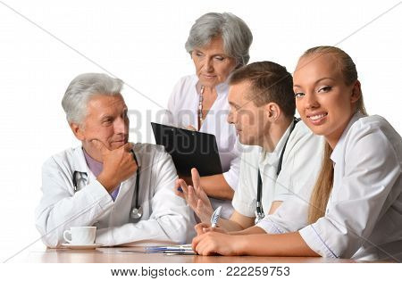 group of doctors on meting isolated on white background