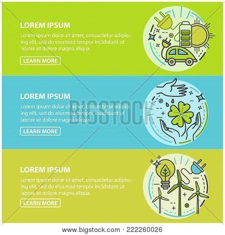 Ecology, green technology, organic, bio. Vector cartoon banner set for your design