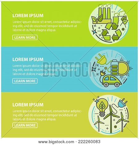 Ecology, green technology, organic, bio. Vector cartoon banners for your design