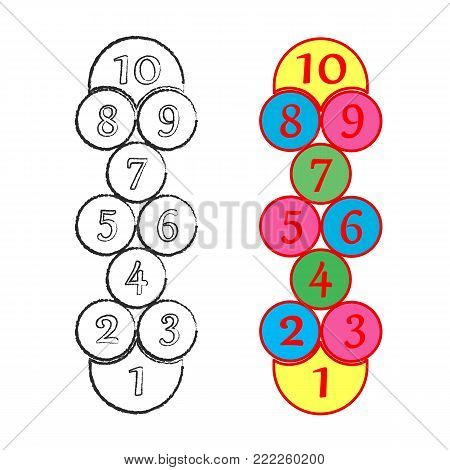 illustration with hopscotch game. Children street game. Cells rounded. Vector EPS-10