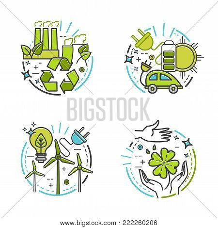 Ecology, green technology, organic, bio. Vector cartoon thin line illustration for your design