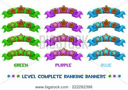 level complete templates, wood stars rank on colored ribbon, assets for games design, Cartoon game rating icons. Ranking elements. GUI elements for animation