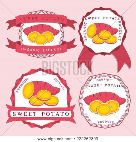 Abstract vector icon illustration logo for whole vegetable sweet potato, sliced baked foods. Potato pattern consisting of ripe boiled stewed food, steamed fries, raw yam. Sweet vegetables potatoes.