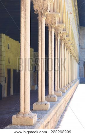 Courtyard of Pedralbes Monastery in Barcelona, Spain.