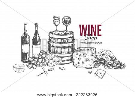 Wine shop concept. Vector hand drawn illustration. Background, cover template