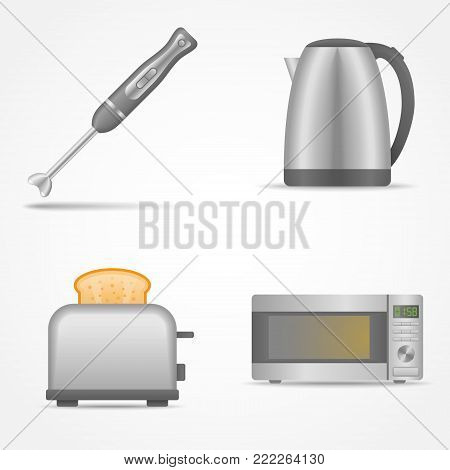 Set of kitchen electric appliances isolated on white background. Blender, kettle, toaster, microwave oven. Vector illustration.