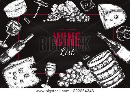 Wine List Menu. Vector hand drawn Frame including wine glass, bottle, grape, vineyard landscape, cheese, barrel with wine. Sketch style
