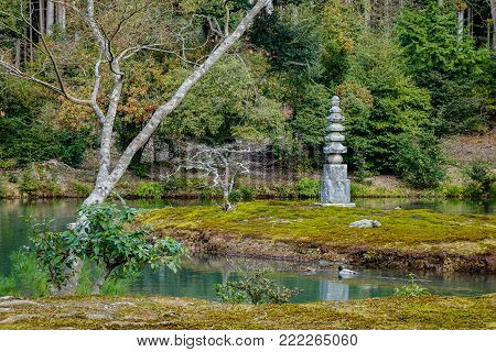 Stone monument of a Japanese zen garden in Kyoto, Japan.
