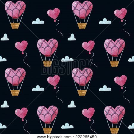 Seamless Watercolor pattern with many balloon, many clouds and a big balloon
