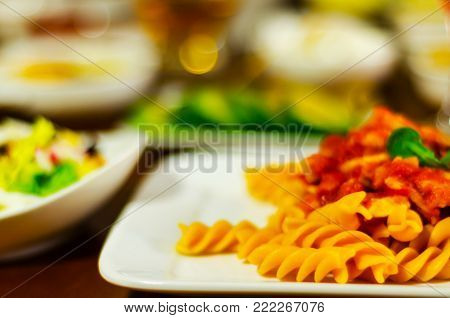Tasty Dish With Pasta, Meat And Sauce, Italian Dish, Fast And Simple Dish