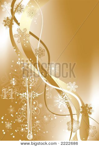 New Year'S Background With Clock